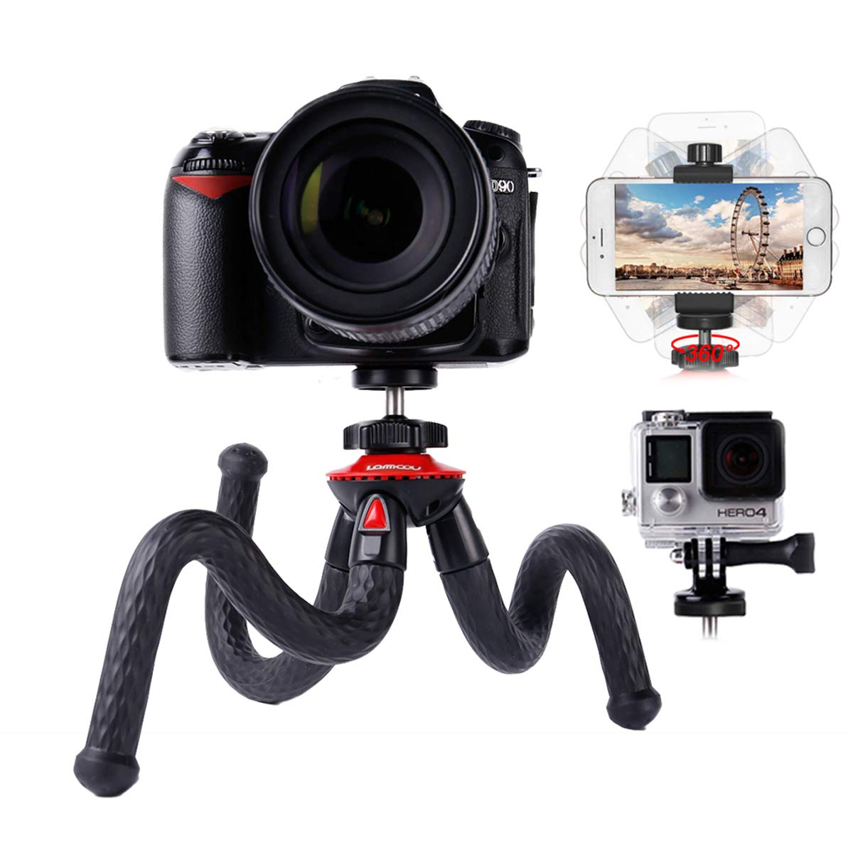 Camera Tripods,Phone Holder Adapter,Travel Tripod for Canon Sony Nikon Panasonic Olympus Fuji Camera with Carry Case