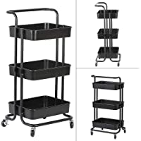 MUPAI 3-Tier Storage Trolley, Removable Casters Serving Trolley for Kitchen/Living Room/Bathroom/Beauty Salon (Noir…