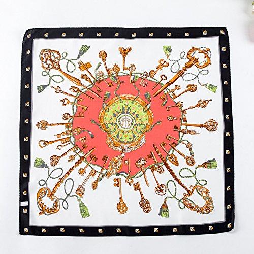 Upper-Frühjahr/Sommer Seide kleines Quadrat Schals Damen Vielseitige dual-use-Seide Schals Schal, (Handschuhe Fransen Satin Mit)
