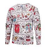 Honeystore Herren Weihnachten Langarmshirt Sweatshirt Niedlich Elche 3D Weihnachts Muster Drucken T-Shirt Blusen Herbst Winter Warme Rundhals Pullover Sweatshirt...