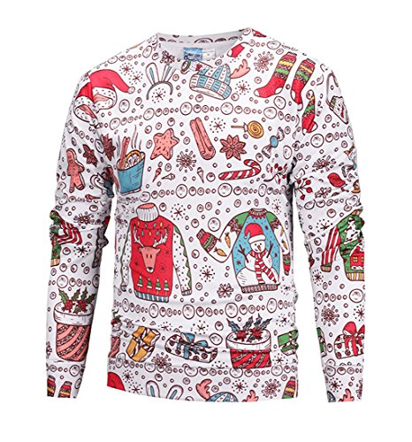 ihnachten Langarmshirt Sweatshirt Niedlich Elche 3D Weihnachts Muster Drucken T-Shirt Blusen Herbst Winter Warme Rundhals Pullover Sweatshirt Tops Cartoon XXL (Kreative Paare Kostüm Ideen)