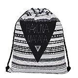 Tasche Rucksack Beutel Aufbewahrung Hakuna Matata Kein Sorgen Schwarz Weiss Retro Cool New Stuff