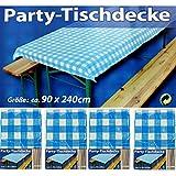 4x Party-Tischdecke Blau Weiß Bierzelt Garnitur Garten Bierbank Biertisch Fest