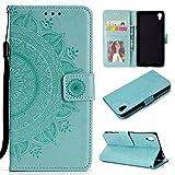 BONROY Sony Xperia Z5 Lederhülle Ledertasche [ Wallet Tasche Series ] Leder Book Case Hülle Flip Cover Schutzhülle mit Kartenfach-(HH Totem Embossing-Mintgrün)