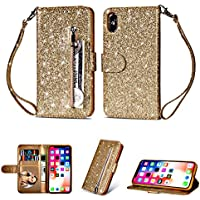 Ostop Gold Reißverschluss Brieftasche iPhone XS Hülle,iPhone X Hülle,Glitzer Bling Leder Luxus Geldbörse Standfunktion... preisvergleich bei billige-tabletten.eu
