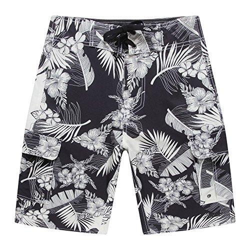 Hombres-Beach-Wear-Junta-Shorts-con-bolsillo-en-negro-con-crema-Floral-y-hojas-40