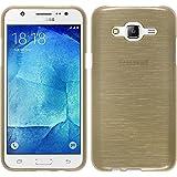 Funda de silicona para Samsung Galaxy J5 (2015 - J500) - brushed oro - Cover PhoneNatic Cubierta + protector de pantalla