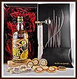 Geschenk Big Peat Whisky + Flaschenportionierer + 10 Edel Schokoladen von DreiMeister & DaJa + 4 Whisky Fudge, kostenloser Versand