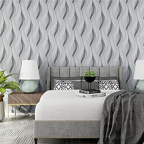 Style moderne abstrait lignes ondulées ondulations 3d papier peint texturé–33'(10m), rouleau complet, gris argenté