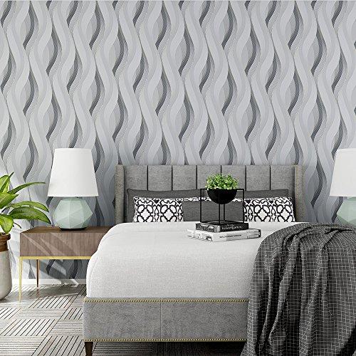 Designer Style Wall Plate (Modern Abstrakt Style Wellenlinien Wellen 3D texturierte Tapete–33'(10Mio.), Rolle, die ganz, silbergrau)