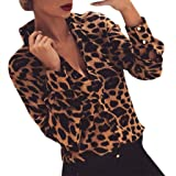 TIFIY Top a Maniche Lunghe con Stampa Leopardata a Bottone a Manica Lunga da Donna Elegante Sexy Casual Tops Blusa Taglie For