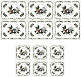 The Holly and The Ivy Placemats and Coasters, Multi-Colour, Set of 6