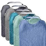 Pack 5 baberos rizo guardería con elástico para fomentar autonomía. Lavables con interior impermeable y rizo máxima calidad. Babero con goma cuello. Hecho en España (AQUA)