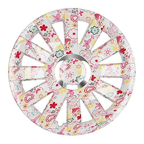 Eight Tec Handelsagentur (Farbe und Größe wählbar!) 16 Zoll Radkappen Onyx (Flowers) passend für Fast alle Fahrzeugtypen (universell) - vom Radkappen König