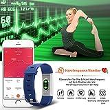Mpow Fitness Armband mit Pulsmesser,Wasserdicht IP67 Smartwatch Fitness Uhr Pulsuhren Fitness Tracker Aktivitätstracker Schrittzähler Uhr für Damen Herren Anruf SMS Beachten für iPhone Android Handy - 2
