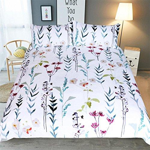 HUANZI Polyester Bettdecke Cover 3D Blumen Zweig Muster Pflege Decke Set Bettwäsche Set mit Kissen Etui-weiß, König