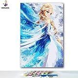 """Malen nach Zahlen Kits 30,5 x 45,7 cm Leinwand-Ölgemälde für Kinder, Studenten, Erwachsene, Anfänger mit Pinsel und Acryl-Pigment""""Frozen Elsa"""" (ohne Rahmen)"""