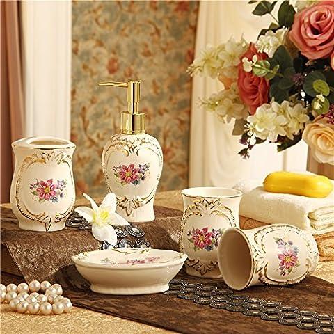 hjky Bad Accessoires Set europäischen Badezimmer five-piece modernes Keramik Badezimmer Supplies Wash Kit Zahnbürste Cup Spülen AAA