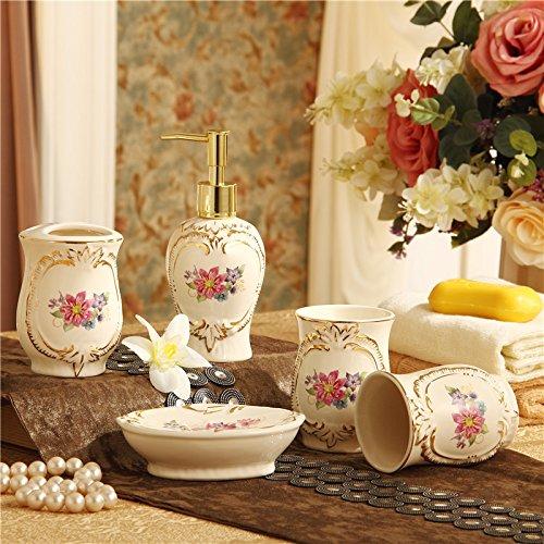 Set europäischen Badezimmer five-piece modernes Keramik Badezimmer Supplies Wash Kit Zahnbürste Cup Spülen AAA (Seashell Dusche Vorhang Haken)