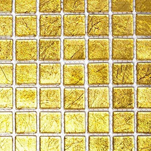 Mosaik Fliese Transluzent Glasmosaik Crystal gold Struktur für WAND BAD WC DUSCHE KÜCHE FLIESENSPIEGEL THEKENVERKLEIDUNG BADEWANNENVERKLEIDUNG Mosaikmatte Mosaikplatte
