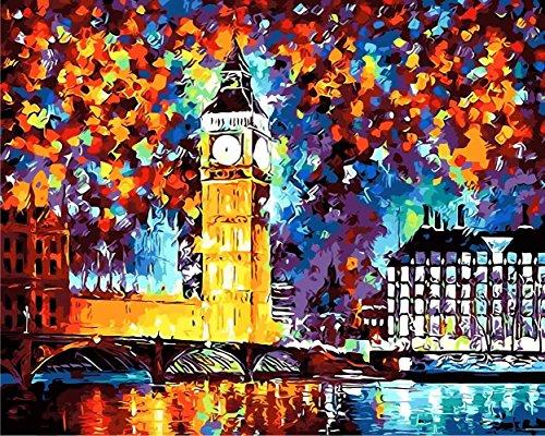 Tonzom Malen nach Zahlen Kits Diy Leinwand Ölgemälde für Kinder, Schulkinder, Erwachsene Anfänger - London Big Ben 16x20 Zoll mit Pinsel und Acryl Pigment (Ohne Rahmen)