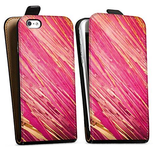 Apple iPhone X Silikon Hülle Case Schutzhülle Aquarell Kratzer Pink Downflip Tasche schwarz