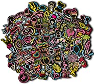 Holdax Crafts Premium Quality Neon Stickers | 100pcs | Cute & Aesthetic| Art Supplies | Stickers for Kids,