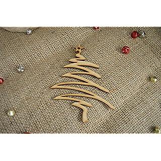 20 pack 40mm 'Hanging Fancy Tree Christmas Shape' Craft Shape, Craft Embellishments, Made from Medite Premier MDF