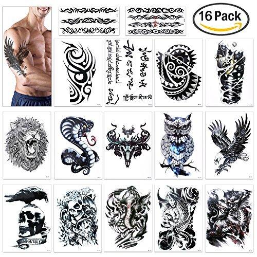 Tattoos, Konsait extra temporär Tätowierung schwarz Tattoo Körperkunst Aufkleber Fake Arm Tattoos Sticker für männer Frauen (16 Blätter) (Armee Mann Halloween Kostüme)