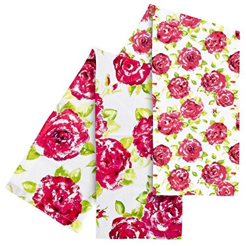 Ragged Rose Motif Tracy Lot de 2 torchons-Rose/Blanc