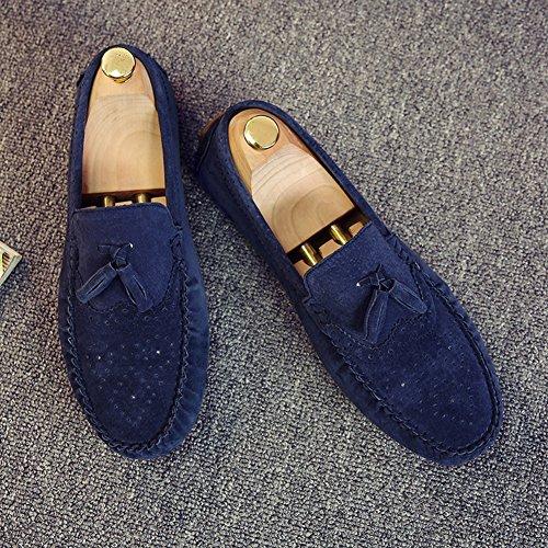 Aisun Herren Barock Troddel Kunstleder Flach Weich Loafer Halbschuhe Bootsschuhe Blau