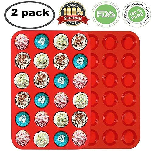 Premium Silikon Mini Muffin & Cupcake Backform großes Antihaft 24 Cup Cookies Formen Bakeware Dose Seife Tablett Form von Meiso (Set von 2) Mini rot Mini-muffin-pan-cookies