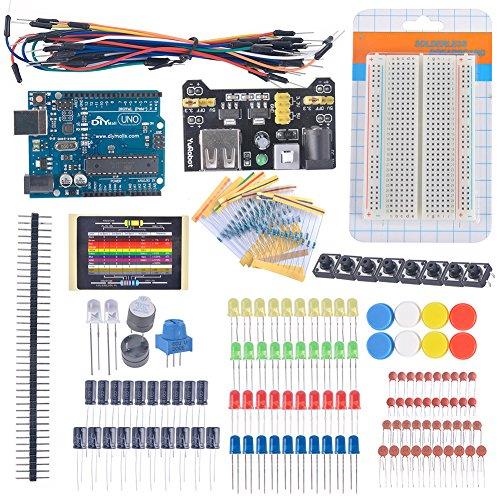 DIYmall UNO R3, kit di componenti elettronici per scheda Breadboard, cavo, resistor, potenziometro LED, condensatore per Arduino