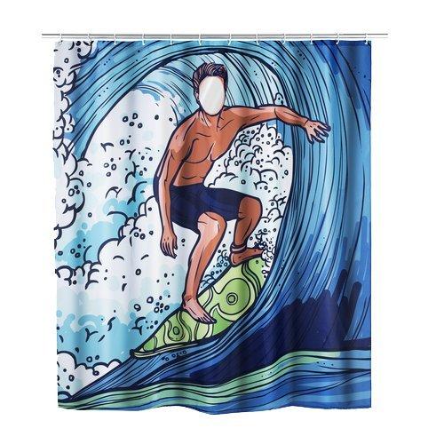Wenko 22498100 Duschvorhang Surfing Boy, waschbar, mit 12 Duschvorhangringen, Polyester, 180 x 200 cm, mehrfarbig