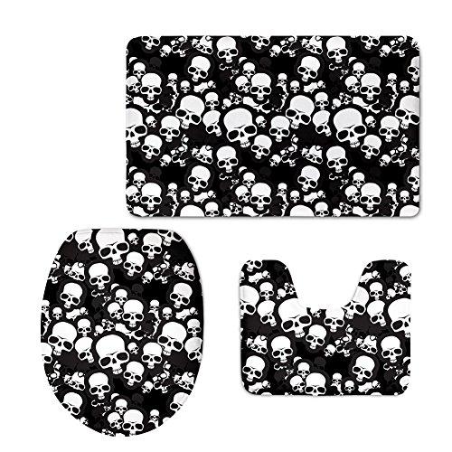 thikin 3D Cool Design Teppich Set 3Soft Totenkopf Badteppich Contour Teppich WC-Deckelbezug skull11 Badezimmer-teppiche-sets, Tan