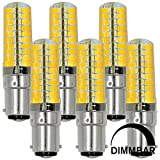 MENGS® Pack de 6 Regulable BA15D Lámpara LED 7W AC 220-240V blanca cálida 3000K 80x5730 SMD
