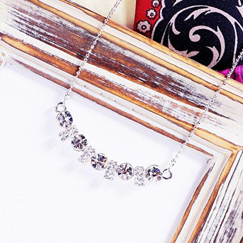 Mabox chaîne de coeur collier à base de en forme de coeur cristal cristal blanc clair Blanc