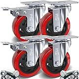 """4 x Heavy Duty dubbele kogellagers geremde zwenkwiel 100 mm rubber wiel trolley Caster 700 kg gratis armatuur 100mm (4"""") - 2x"""