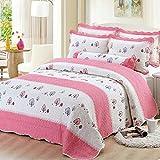 beddingleer niños niñas rosa único de algodón, 150x 200cm colcha Patchwork mantas, peso de luz para niños cuatro estaciones