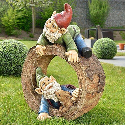 Royal Gardineer Garten-Dekoration: Gartenzwerg-Duo mit Häschen im Baumstumpf, handbemalt (Zwergfiguren)