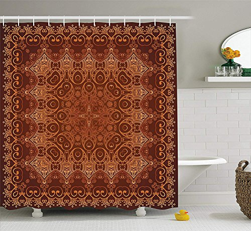 JIEKEIO Antique Decor Shower Curtain Set, Vintage Lacy Persian Arabic Pattern from Ottoman Empire Palace Carpet Style Artprint, Bathroom Accessories,60 * 72inch inches, Orange Brown -