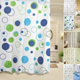 #4: Shower Curtain- Geomatric Circle Pattern Elegant PEVA Bathroom Shower Curtain with Hooks, Mildew Water-Resistant Stylish Living For Home,Hotel Travel Bathroom Accessories & Organization (180*200 Cm) By Shuban