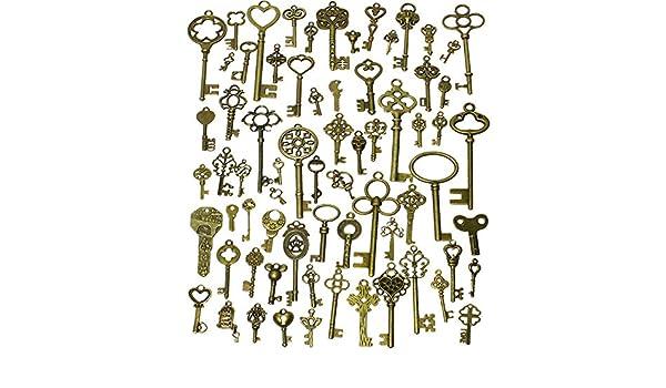 MultiWare 18Pcs Vintage Old Look Bronze Skeleton Key Charm Pendant