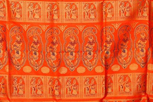 Exotic India Flame-Orange Baluchari Saree Hand-Woven in Bengal Depictin - Orange