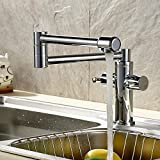 Armaturen Küchenarmatur Kupfer Teller waschen Waschtisch Armatur Spüle Becken Falten Leitungswasser zu Drehen um 360 Grad, Weiß