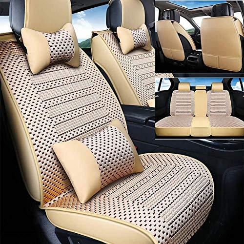 Yunchu Sommer Super Breathable Ice Silk Autositzbezug Inner Room Wear Sitzkissen, geeignet for die meisten 5-Sitzer Auto sitzbezüge (Farbe : Beige) (Malibu Chevy 2009)