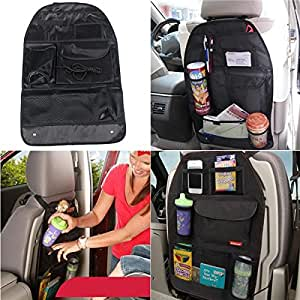 Car Seat Storage Bag Car Covers Back Seat Organizer Auto Multi Holder Pocket Organizer Bag Assorted Bag Pocket Pack of 1 Black (With Free Token)