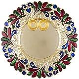 Satyam Kraft Diwali Collection Designer Pooja Thali Traditional Metallic Finished Pooja Thali With Diya For Diwali/Diwali Pooja/Diwali Decor- 25 Cm Diameter / Diwali Gift / Tilak Thali With Two Katoris / Golden Puja Thali
