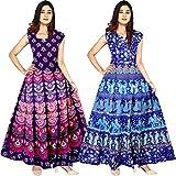 JWF Women's 100% Cotton Multicolor Dress (Combo of 2 pcs)