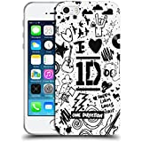 Official One Direction I Heart 1D White Doodle Design Soft Gel Case for Apple iPhone 5 / 5s / SE
